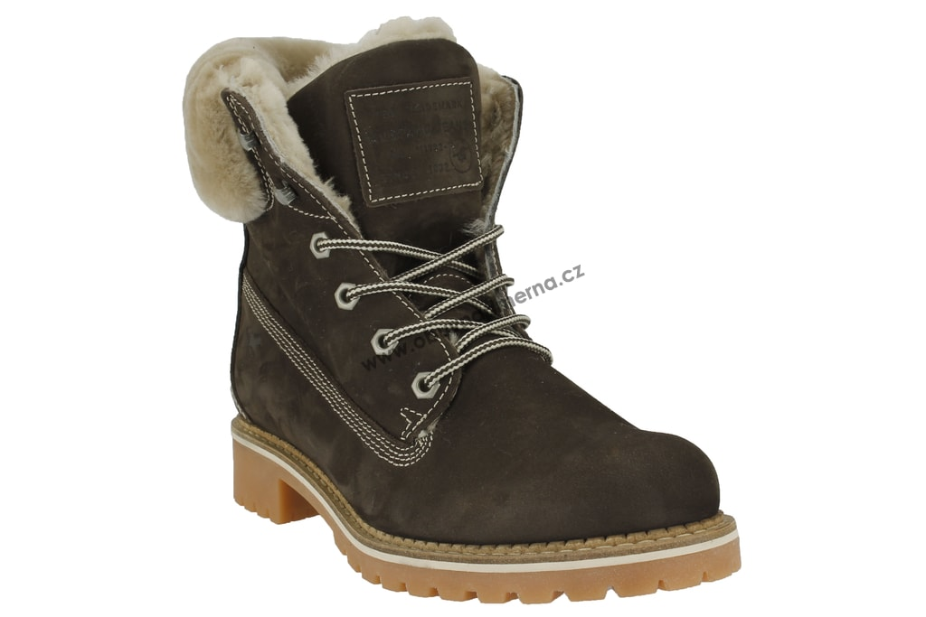 Nadměrné kotníkové boty Mustang hnědé 2837-606-32. Zateplené kožené dámské  ... 0505a9a05d7