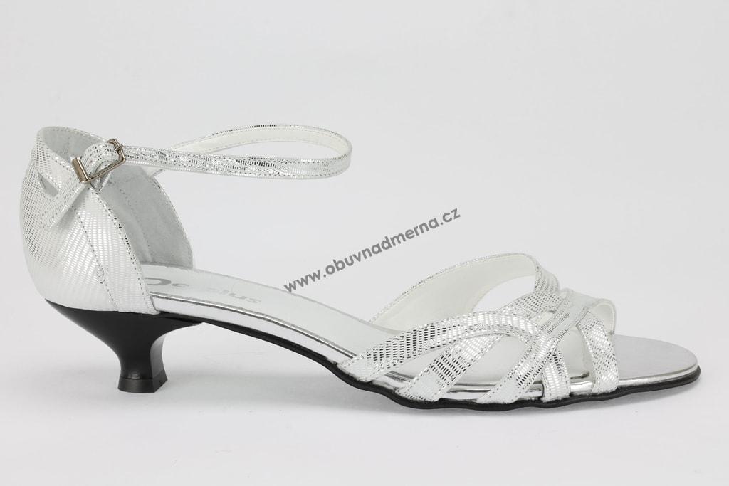 Nadměrné páskové boty De Plus stříbrné 9128 - Sandály 4c7d795f99