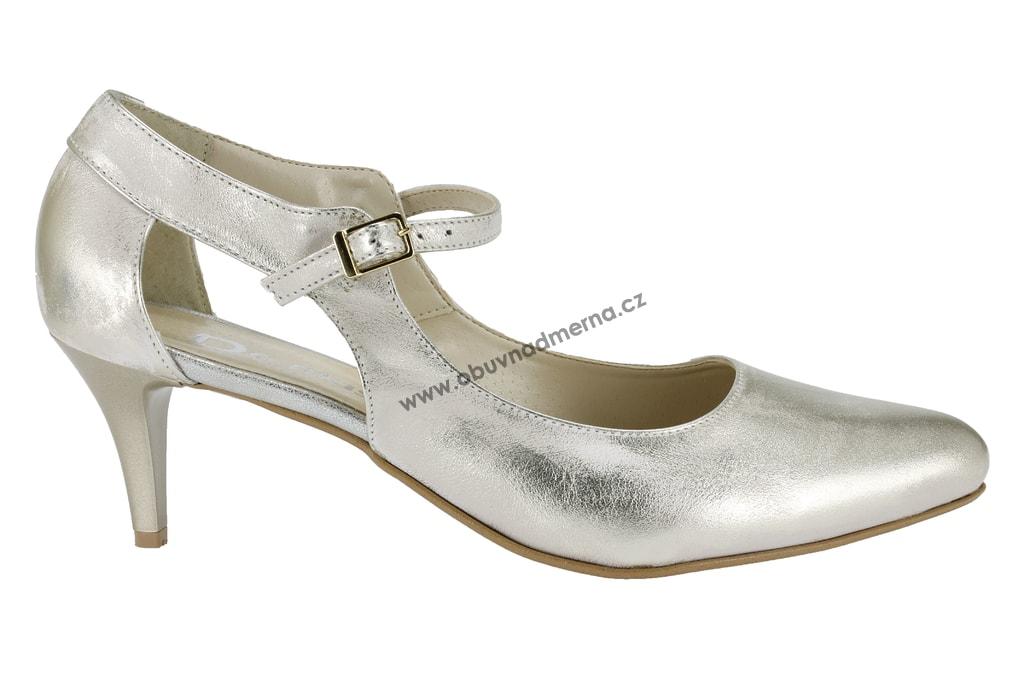 Nadměrné společenské boty De Plus zlaté 9675 6111 - Lodičky ... 3beecea5d6