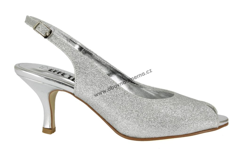 Pásková společenská obuv Effe Tre stříbrná. Dámské společenské boty ... 00c3cadd87