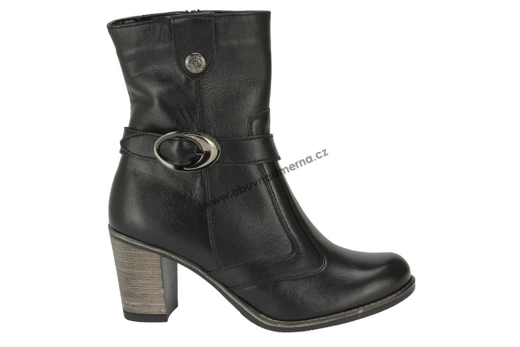 Polokozačky Markko na podpatku černé. Nadkotníkové dámské boty na podpatku 3962191f10f