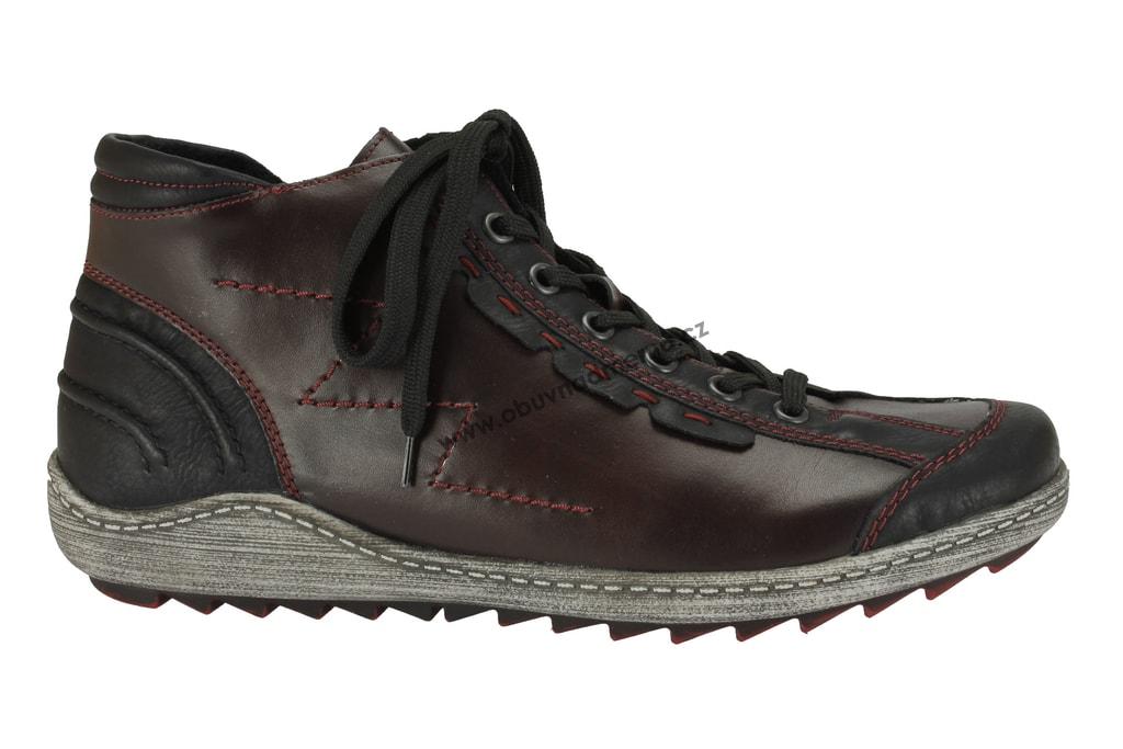 Nadměrné kotníkové zimní boty Remonte vínové - Kotníkové 2d6564106e