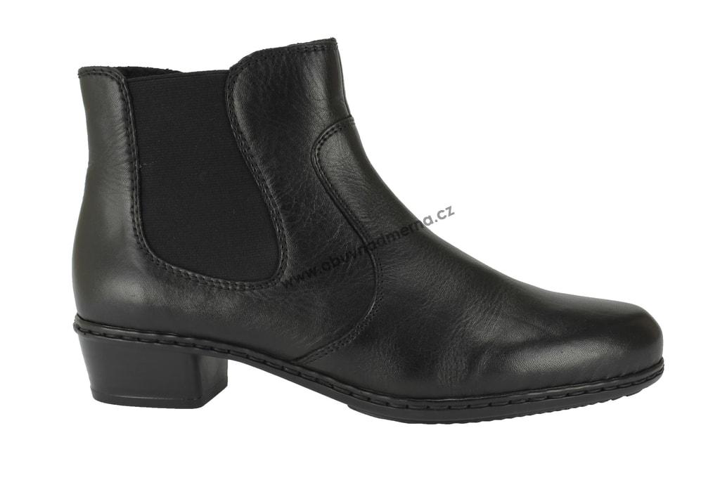 Kotníkové boty Rieker na podpatku černé - Kotníkové 6efab93f32