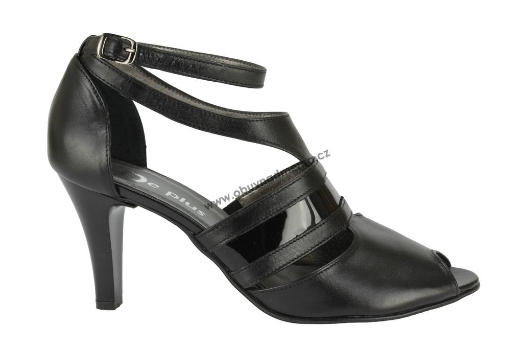 Nadměrné páskové boty De Plus na podpatku černé 9572 8089 - Sandály ... 6a38804435