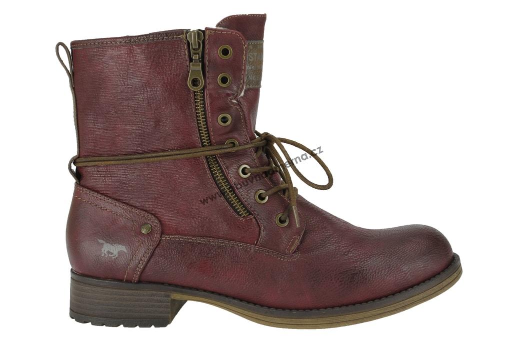 8f05d02b5e0 Nadměrné kotníkové boty Mustang bordeaux 1139-629-55 - Kotníkové ...
