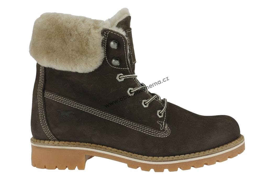 6534e3535ec Nadměrné kotníkové boty Mustang hnědé 2837-606-32. Zateplené kožené ...