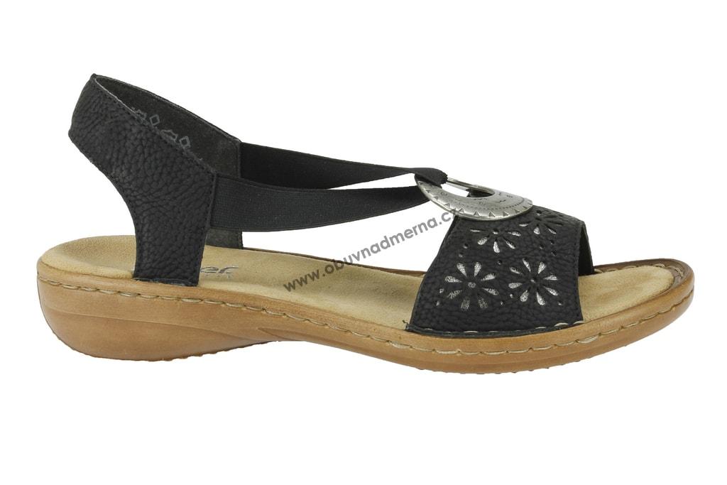 Páskové boty Rieker černé - Sandály fc6536b7d0