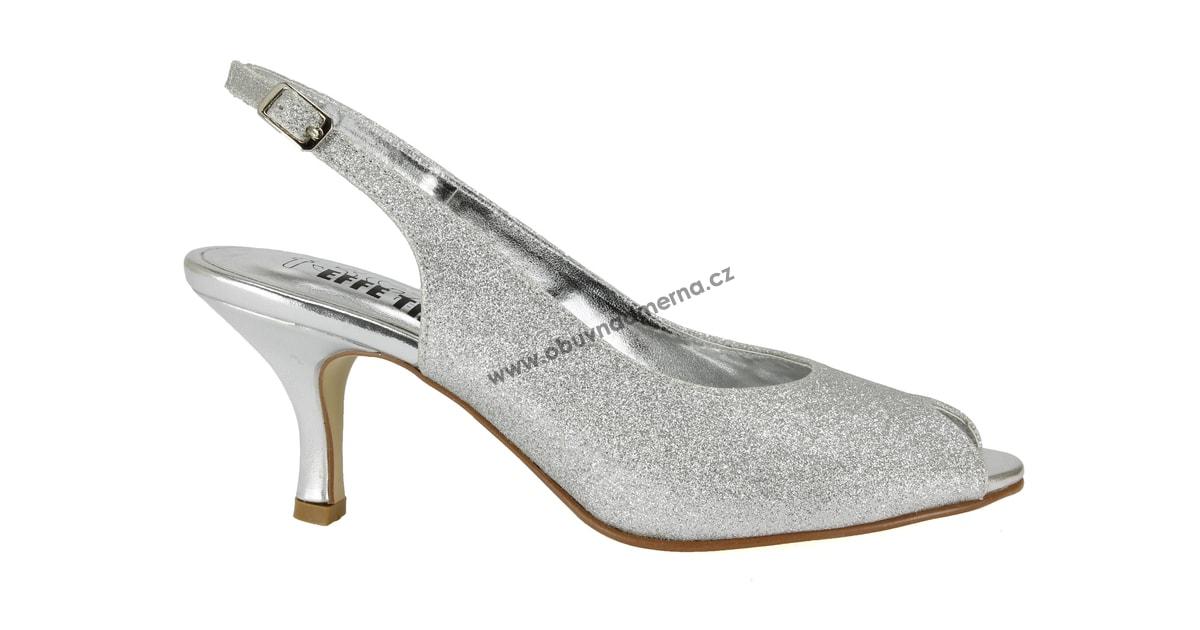 78b10e188e3 Pásková společenská obuv Effe Tre stříbrná